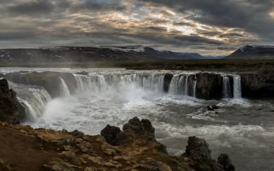 Sunset at Goðafoss
